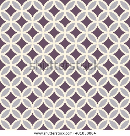 Vector seamless pattern with circles / rings. Geometric background in ashy violet colors. - stock vector
