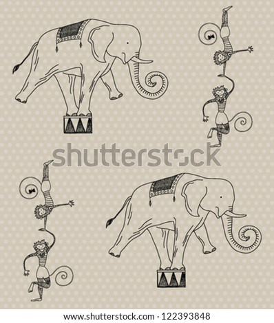vector seamless pattern with circus elephants and monkeys - stock vector