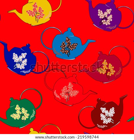 Vector seamless pattern with clay tea pots - stock vector