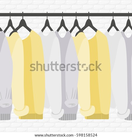 Vector Seamless Pattern With Coat Rack Showroom Closet Clothes In Flat Style