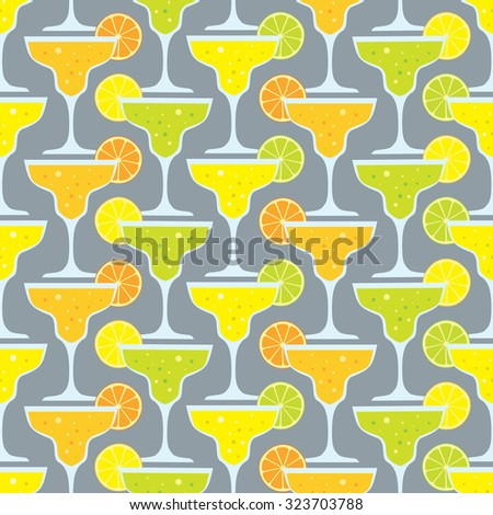 vector seamless pattern with cocktails - stock vector