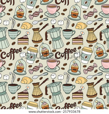 Vector seamless pattern with coffee and sweet. Coffee background - stock vector