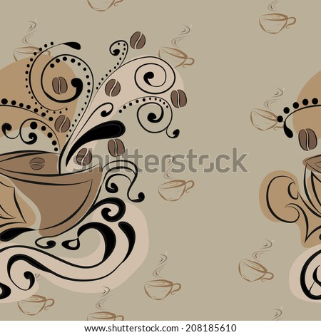 Vector seamless pattern with coffee beans and cups - stock vector