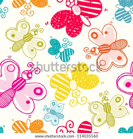 Vector seamless pattern with color butterfly - stock vector