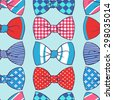 Vector seamless pattern with color butterfly tie. - stock vector