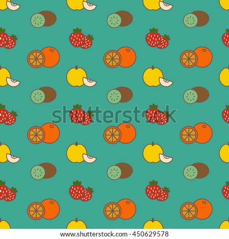 Vector seamless pattern with color fruits and strawberry - stock vector