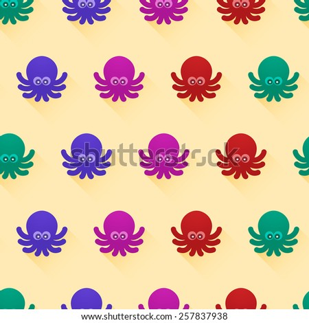 Vector seamless pattern with color octopuses. Cute octopuses have fun - stock vector