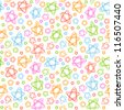 Vector seamless pattern with color stars of doodles. Abstract ornamental background. Simple stylized illustration in childish hand drawn style. Texture for print, web, wallpaper, textile, cover, paper - stock vector