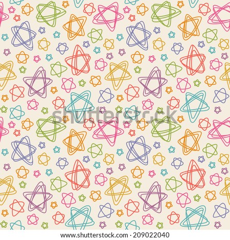 Vector seamless pattern with color stars of doodles. Texture in childish hand drawn style. Illustration for print, web - stock vector