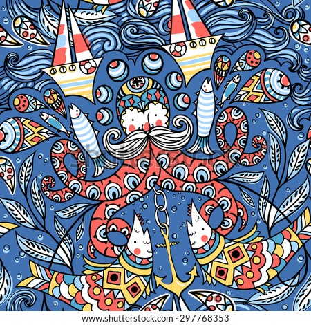 vector  seamless pattern with colored old octopuses, fishes, boats and other nautical elements