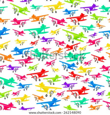 vector seamless pattern with colorful airplanes - stock vector