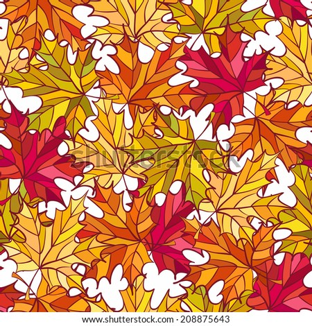 Vector seamless pattern with colorful autumn maple leaves