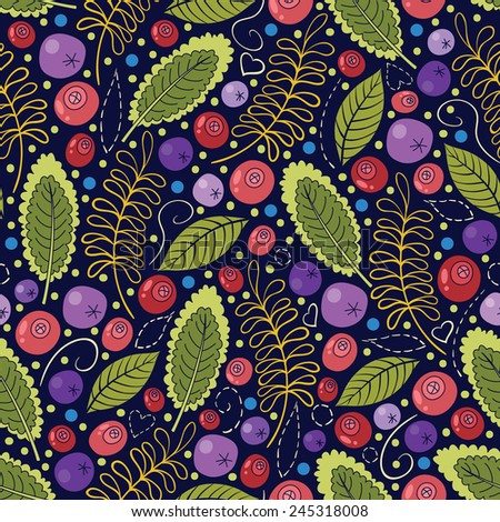 Vector seamless pattern with colorful berries, leaves and dots on purple background - stock vector