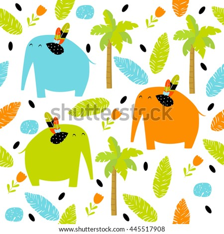 Vector seamless pattern with colorful cartoon elephants, flowers, palm trees, foliage. Bright multicolored pattern. Safari, Africa, the Indian jungle. - stock vector