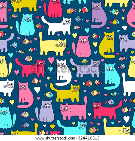Vector seamless pattern with colorful cats and fish. Funny doodle kittens. Cartoon hand drawn design for children. Bright colors on navy background.