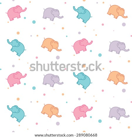 Vector seamless pattern with colorful elephants on white background - stock vector