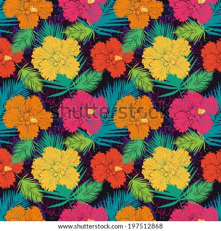 vector seamless pattern with colorful hibiscuses - stock vector