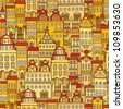 Vector seamless pattern with colorful houses. Day city - stock vector