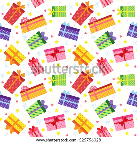 Vector seamless pattern with colorful present boxes