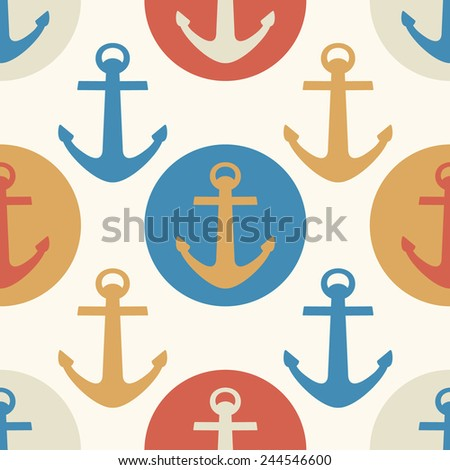Vector seamless pattern with colorful sea anchors. Background for baby design. Textile and wrapping paper - stock vector