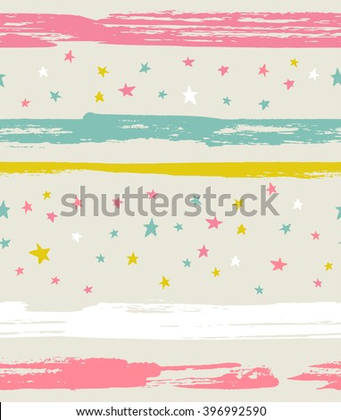 Vector seamless pattern with colorful stars and stripes. Background with ink strokes. - stock vector