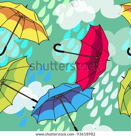 vector seamless pattern with colorful umbrellas and clouds - stock vector