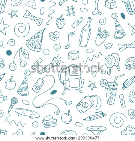 Vector seamless pattern with contour stuff of leisure - beer, food, music, drinks, ping pong, coffee, camera and others on white background