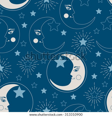 Vector seamless pattern with crescent moons and stars