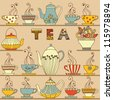 Vector seamless pattern with cups and teapots. - stock vector