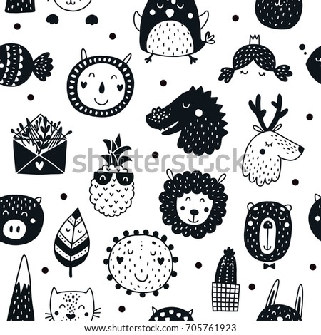 Black and white pictures of animals for kids www for Black and white childrens fabric
