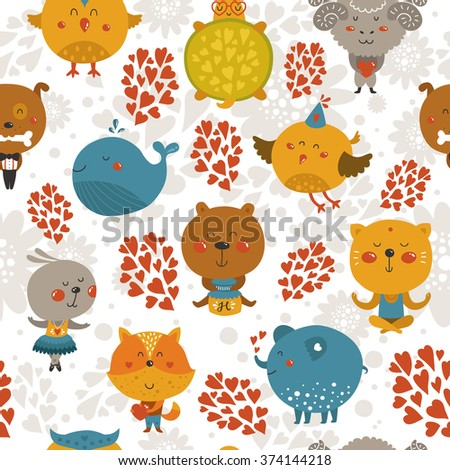 Vector seamless pattern with cute animals. Zoo background with fox, rabbit, cat, merinos, bird, elephant, whale, turtle, bear, dog and owl - stock vector