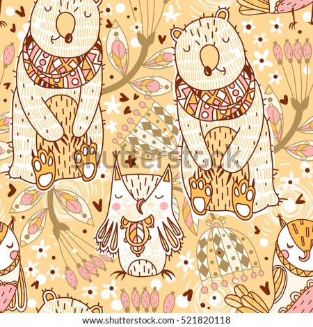 vector seamless pattern with cute bears and owls