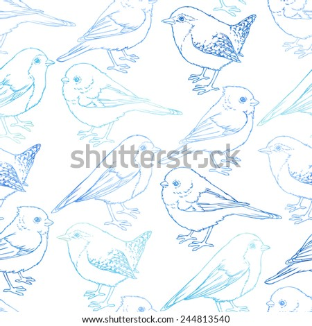 Vector seamless pattern with cute birds - stock vector