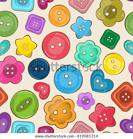 Vector seamless pattern with cute bright colorful vector buttons. Vivid palette. Different shapes - round, square, heart, flower and star shaped buttons. 3d volume effect, glossy game style. - stock vector