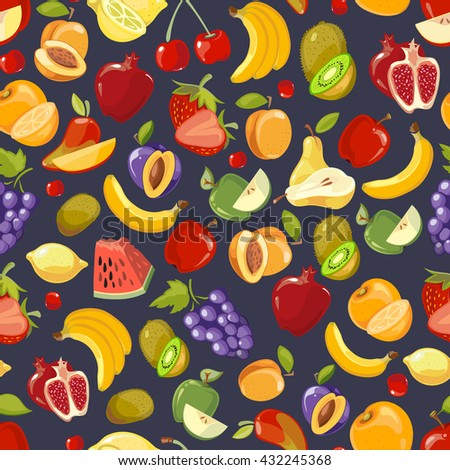Vector seamless pattern with cute bright summer fruits. Grape and strawberry fruit. Blackberry and apple pattern from fruit illustration - stock vector
