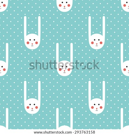 Vector seamless pattern with cute bunny and polka dot  in cartoon style. Pattern can be used for wallpapers, pattern fills, web page backgrounds, surface textures, fabric, textile, paper. Flat design - stock vector