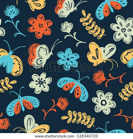 Vector seamless pattern with cute butterfly and flowers in a children's doodle style. Nature element wallpaper.