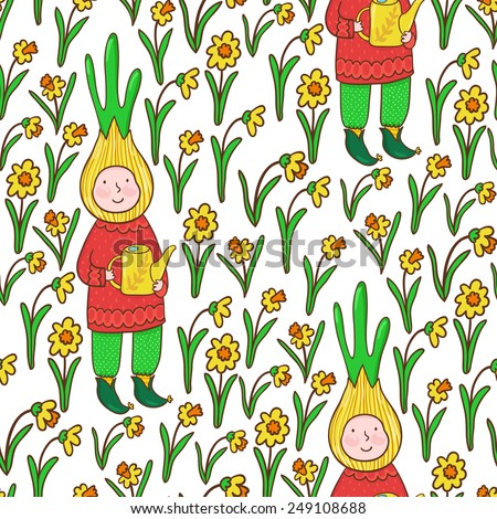 Vector seamless pattern with cute cartoon characters and daffodils. Bright garden texture. - stock vector