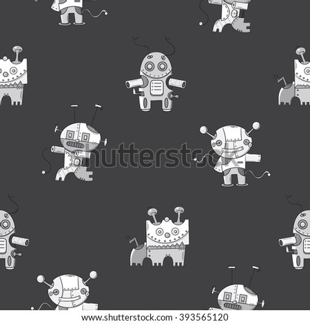 Vector seamless pattern with cute  cartoon robots  on gray  background. - stock vector