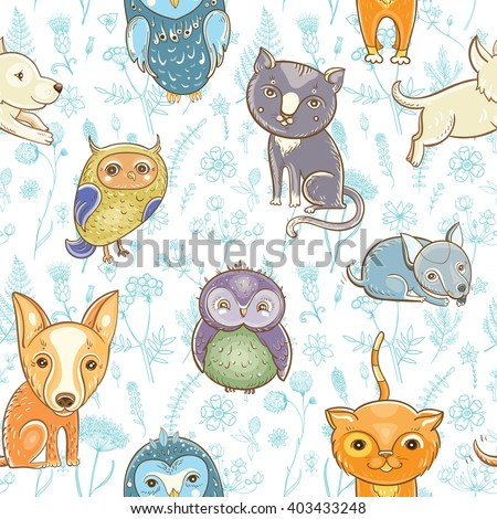 Vector seamless pattern with cute dogs, cats, owls on the floral background.