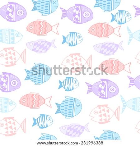 Vector seamless pattern with cute fishes  - stock vector