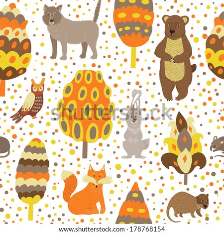 Vector seamless pattern with cute forest animals and bright trees on the white background.  Different hand drawing cartoon characters and elements. - stock vector