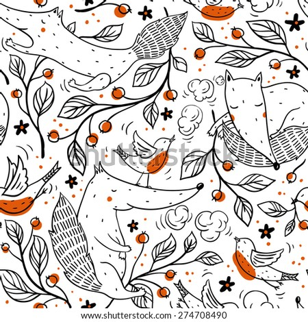 vector seamless pattern with cute foxes,birds and cherry branches