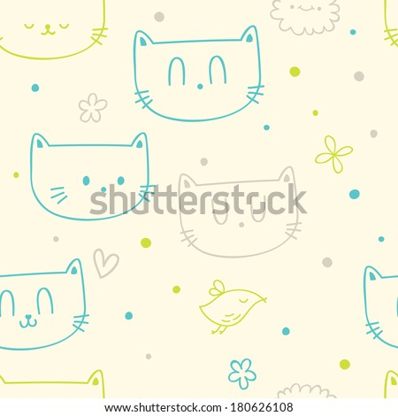Vector seamless pattern with cute funny cats and birds - stock vector