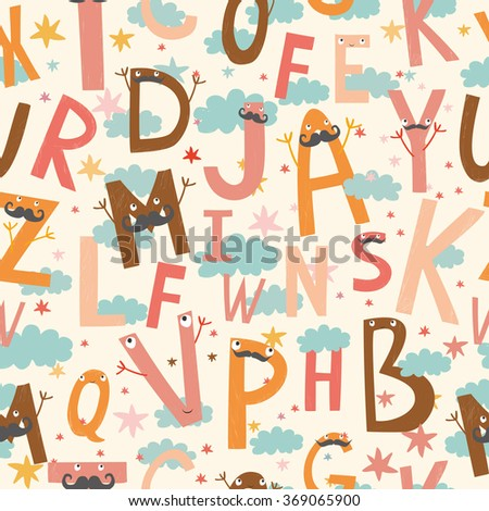 vector seamless pattern with cute, funny letters - stock vector