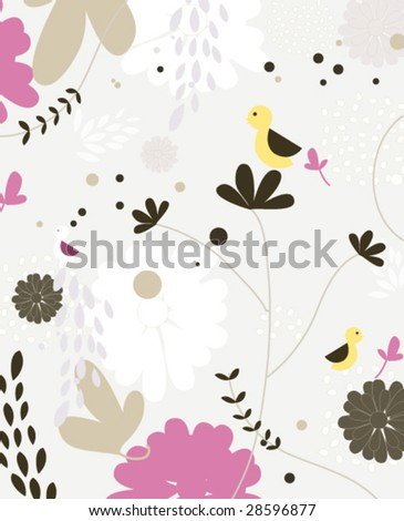 Vector seamless pattern with cute little bird