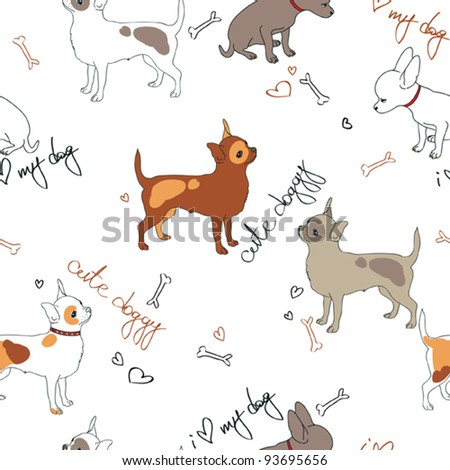 vector seamless pattern with cute little doggies - stock vector