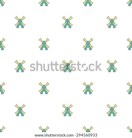 Vector seamless pattern with cute little windmills