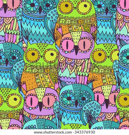 Vector seamless pattern with cute owls - stock vector