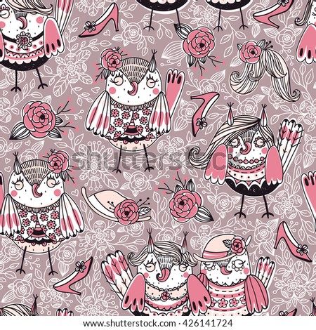vector  seamless pattern with cute owls and girlish stuff - stock vector